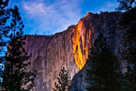 Horsetail falls lit up during sunset in Yosemite National Park