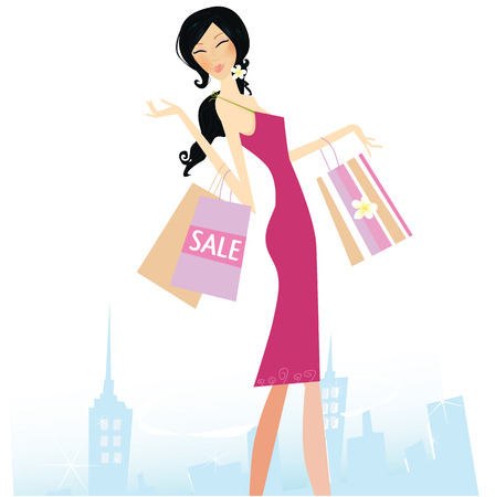 Shopping star. Woman with shopping bags in town. Vector Illustration.