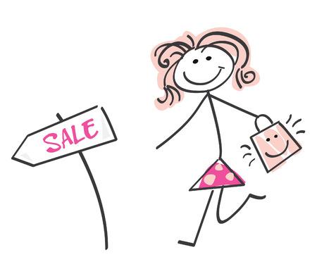 Doodle sale girl. Loving sale! Doodle vector character.