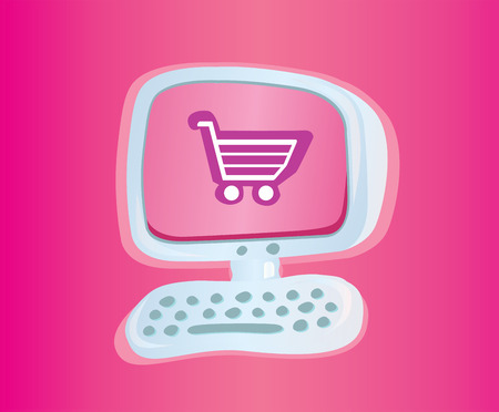 Shopping online VECTOR ICON. Stylish computer with shopping cart. Vector Illustration.