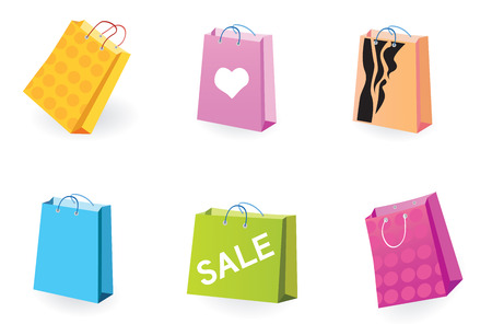 Designer Shopping bags icons. Vector pack of shopping bag set for eshop or magazines.
