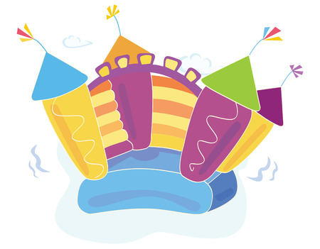 Vector bouncy castle. Vector Illustration of a bouncy castle with girl jumping on it. Easy to resize and change colors!