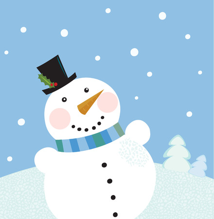 Christmas winter snowman background. Cute snowman in christmas snowy nature. Vector cartoon illustration.