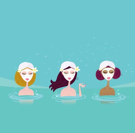 Three ladies in water spa. Beautiful ladies relaxing in water spa. Vector Illustratin in retro style.