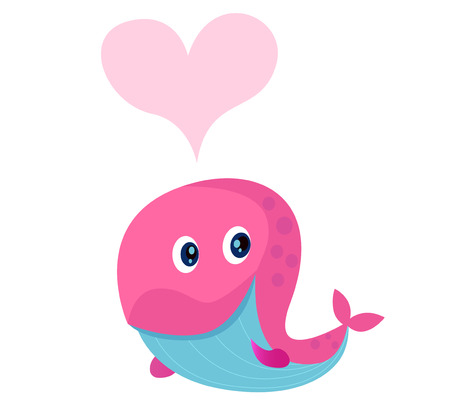 Cute pink whale with heart shape in love.