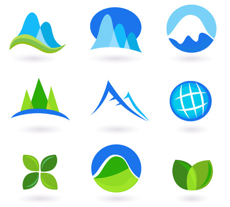 Nature, mountain and tourism icons - blue and green.