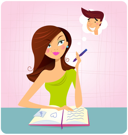 Young student girl is daydreaming while studying. This student girl is is doing homework or reading book and dreaming about this sexy boy. Illustration.