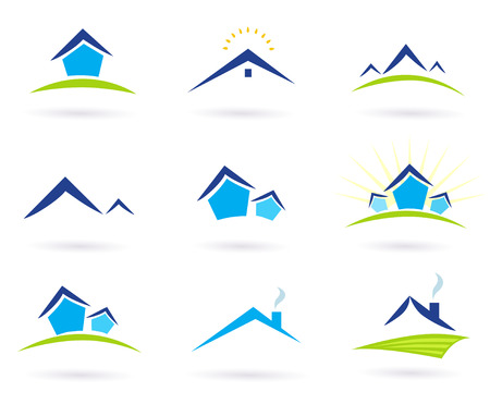 Real estate / houses logo icons isolated on white - blue and green. Vector Illustration.