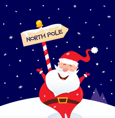 Happy Christmas Santa with North pole sign. A sign of North pole with happy Christmas Santa while snowing  cartoon illustration.