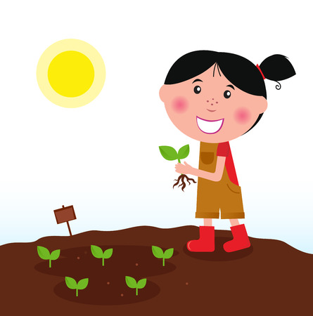 Gardening girl in red boots with green plantのイラスト素材