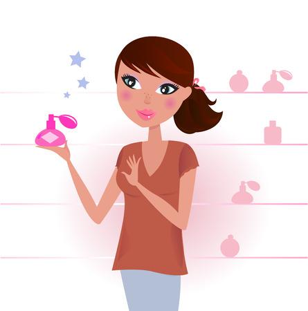 Sexy Woman in perfume shop