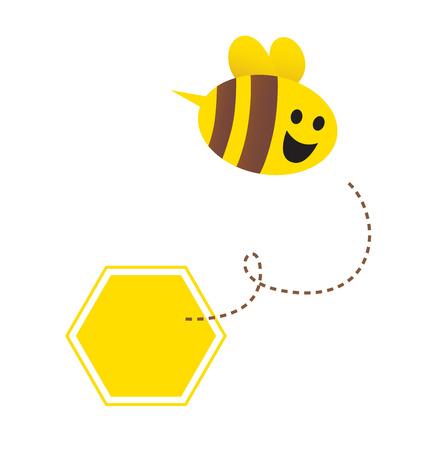 Little flying honey bee ( with yellow and brown stripes ). Vector