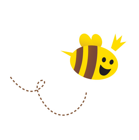 Mother / Queen bee isolated on white background. Vector Illustration.