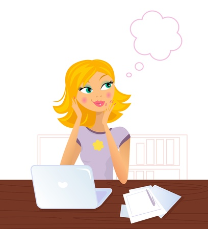 Daydreaming blond woman in work. Vector Illustration.