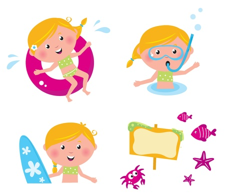 Swimming and mare icon set - vector collection of summer icons