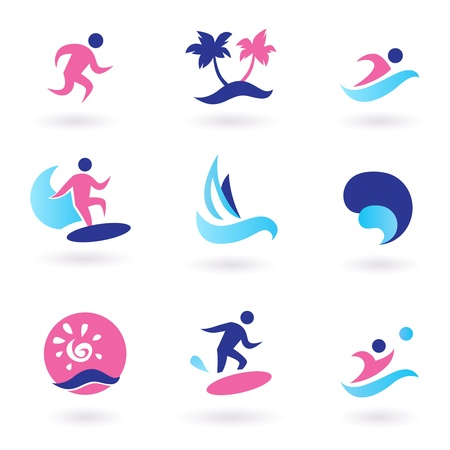 Collection of vacation and summer sports icons. Vector Illustration.