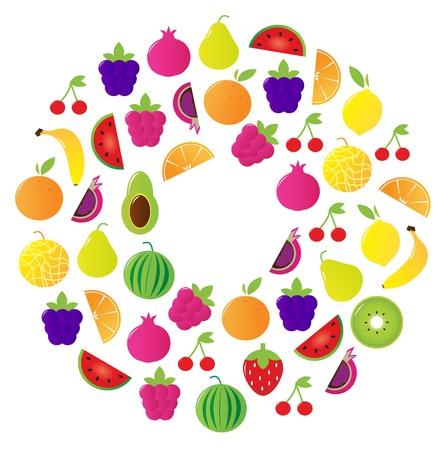 Stylized tasty fruit circle. Vector Illustration.
