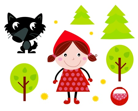 Fairy Tale icons collection isolated on white: Red Riding Hood, Wolf, Forest etc.