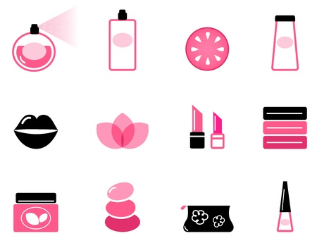 Vector set or collection of beauty icons isolated on white.