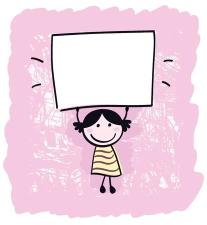 Happy cute little girl holding empty blank banner - cartoon illustration