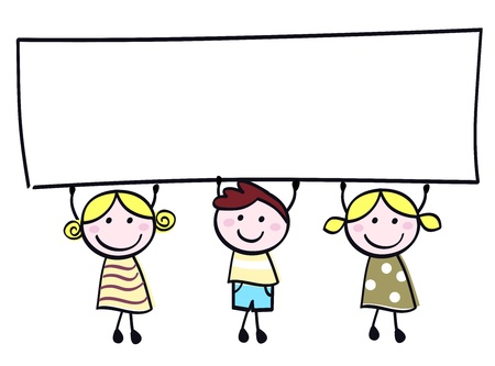 Happy cute little girls and boy holding empty blank banner - cartoon illustration.のイラスト素材