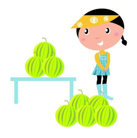 little girl with melons. vector cartoon illsutration.