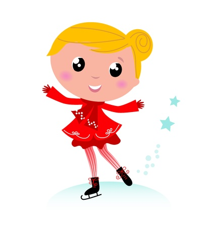 Figure skating child in christmas red costume. Vector cartoon