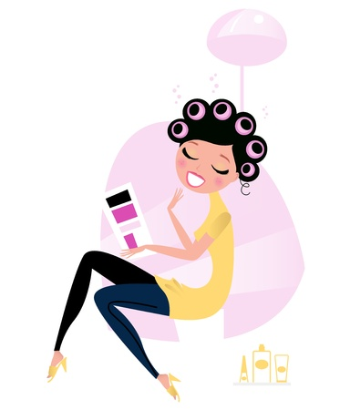 Cute Beautiful Female Sitting In Hair Salon And Reading Magazine Vector Cartoon Illustration Royalty Free Vector Graphics