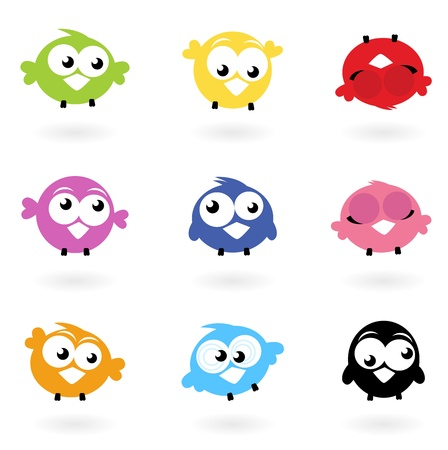 Colorful funny Twitter Birds collection. Vector iconsのイラスト素材