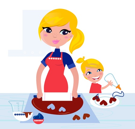 Happy blond hair Mother with Daughter baking together