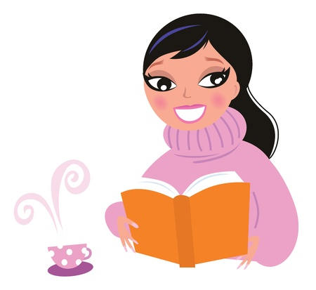 Happy woman in winter warm pullower reading book. Vector Illustration in retro style.