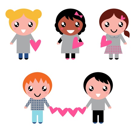 Multicultural kids holding valentines hearts. Vector cartoon