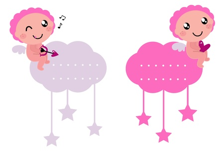 Angel tags collection for your valentine design! Vector Illustration.