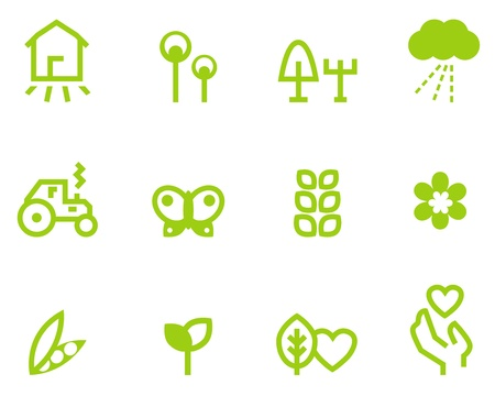 Farming, vegetarian & agriculture icon set. Vector Illustrationのイラスト素材
