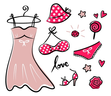 Vector doodle set of red fashion accessories or items for woman.