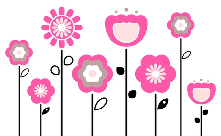 Stylized abstract pink and black flowers. Vector
