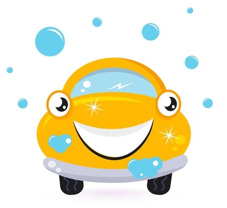 Car wash services, yellow cartoon auto. Vector