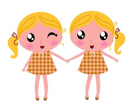 It's wonderful to be twice! Vector cartoon Illustration.