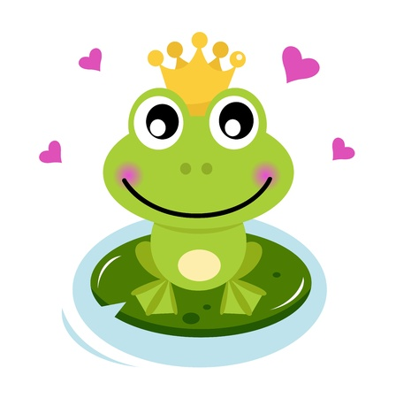 Frog prince isolated on white. Cartoon vector illustration