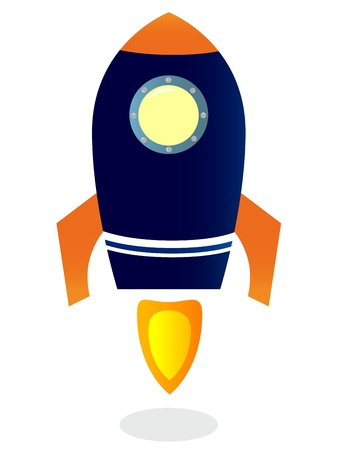 Blue Rocket ship. Vector cartoon Illustration
