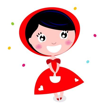 Cartoon red riding hood.  Illustration