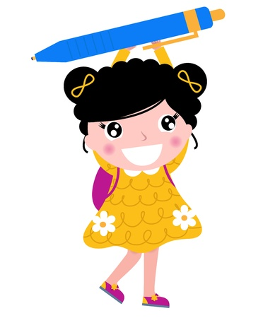 Cute little school girl holding pen.