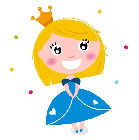 Happy smiling cute princess.  illustration