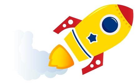 Cartoon spaceship isolated on white. Vector illustration