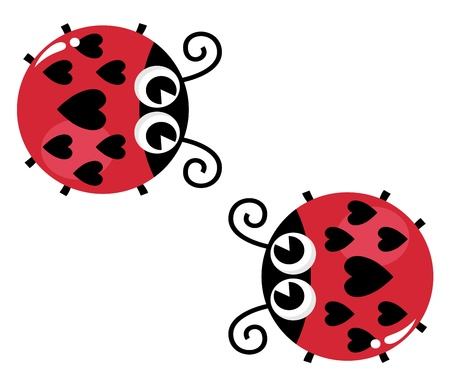 Lady bugs with heart shaped spots. Vector