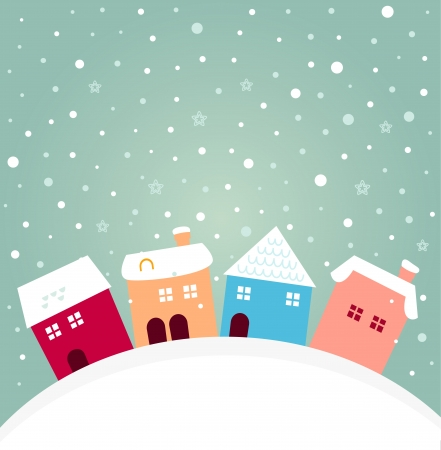 Christmas cute colorful village. cartoon