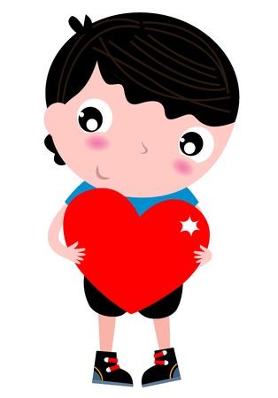 Boy holding Heart for Valentine's Day. Vector Illustration