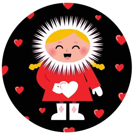 Little Eskimo kid for Valentine's Day. Vector Illustration