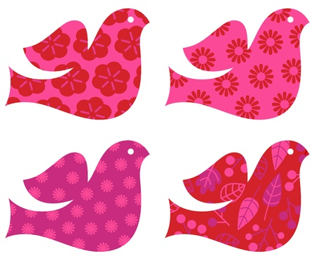 Stylized patterned Doves for Valentines day - pink and red. Vector