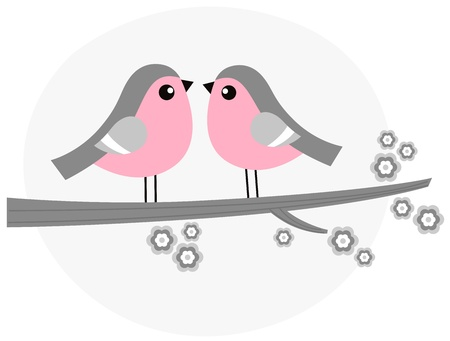 Birds in love  retro Illustration